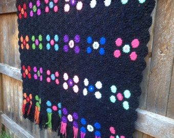 Groovy 1970's Fringe and Floral Crocheted Vintage Afghan (Free US Shipping)