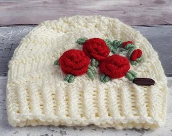 Baby hat, Girls hat, Children hat, Knitted hat, Winter hat, Fall / Autumn hat, Embroidered hat, Flower hat, Kids hat, Made in England,