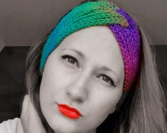 Rainbow twisted ladies headband,  sparkly stripy hair accessory, womens fashion ear warmer, gift for her,  colourful Christmas present,