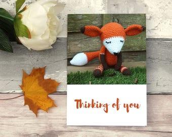 Fox thinking of you card, Crochet motif card, Thinking of you, Fox hospital card, Crochet fox card, Fox card, Crochet toy card,