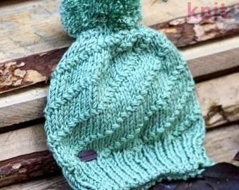 Spiral Bobble Hat Knitting Pattern, Pom Pom Knitted Beanie Tutorial, Digital PDF Download, Newborn through Adult, Circular Needles, DK yarn