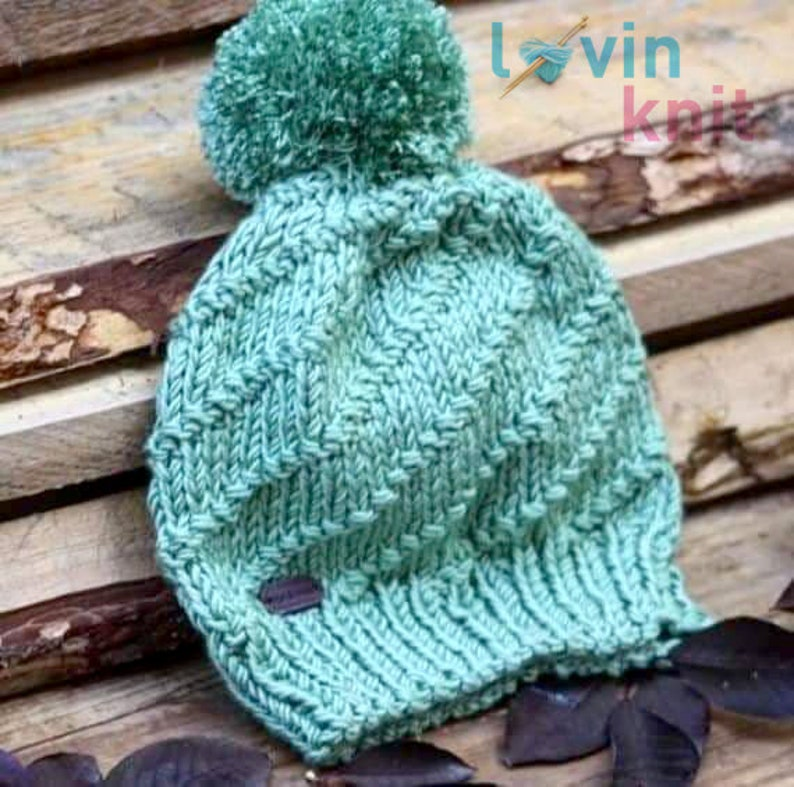Spiral Bobble Hat Knitting Pattern Pom Pom Knitted Beanie image 1