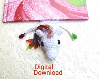 Crochet unicorn bookmark pdf, Rainbow unicorn bookmark patter, crochet pattern, Digital Download, rainbow unicorn PDF, diy unicorn bookmark