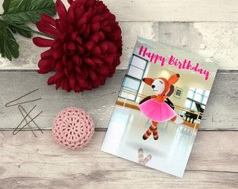 Fox birthday card, Crochet motif card, Happy birthday card, Fox happy bday card, Crochet fox card, Fox ballet card, Crochet toy card,