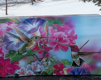 Painted and or other mixed media Mailbox-Hummingbirds and Flowers