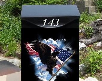 Bald Eagle With American Flag Wall Mounted Mailbox