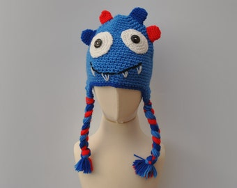 Crocheted monster hat for age 0-3 months