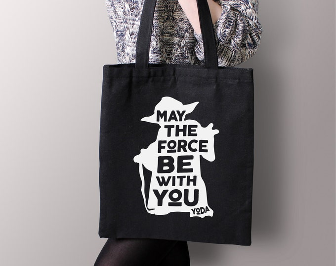 """Star Wars Black """"May The Force By With You"""" Yoda Tote Bag - Star Wars Gift, Canvas Tote, Star Wars Geek Gift"""