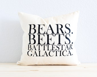 "The Office TV SHOW Pillow ""Bears. Beets. Battlestar Galactica."""