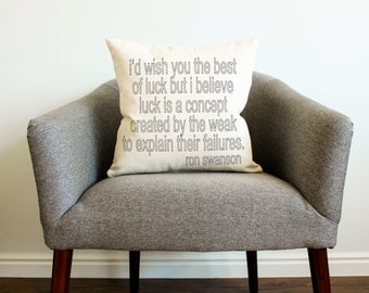 "Parks and Rec TV SHOW Ron Swanson ""Best of Luck"" Quote Pillow"