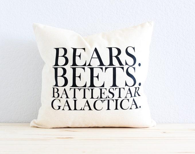 """Dwight Schrute The Office TV SHOW """"Bears. Beets. Battlestar Galactica"""" Pillow"""