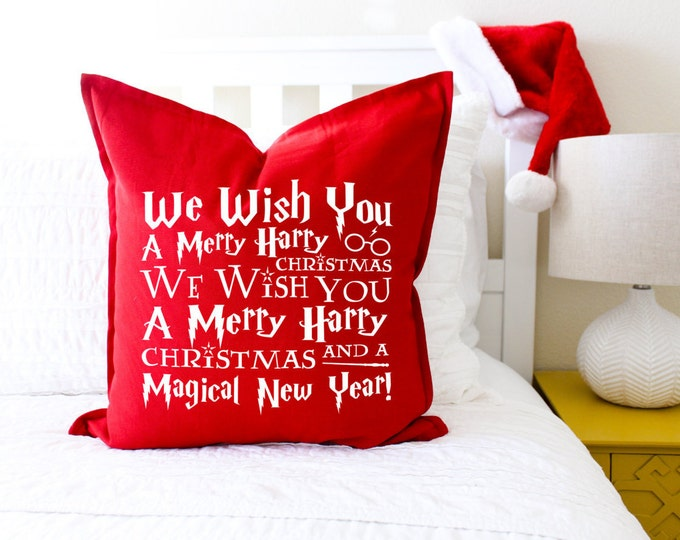 """Christmas Decor """"We Wish You A Merry Harry Christmas"""" Pillow Cover; Christmas Gift, Book Lovers Gift, Gift for Her, Magic, Throw Pillow"""