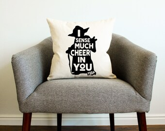 "Christmas Star Wars Yoda ""I Sense Much Cheer In You"" Pillow"