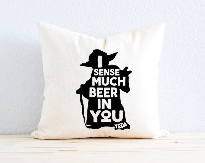 """Star Wars Pillow - """"I Sense Much Beer In You"""" Yoda Quote"""