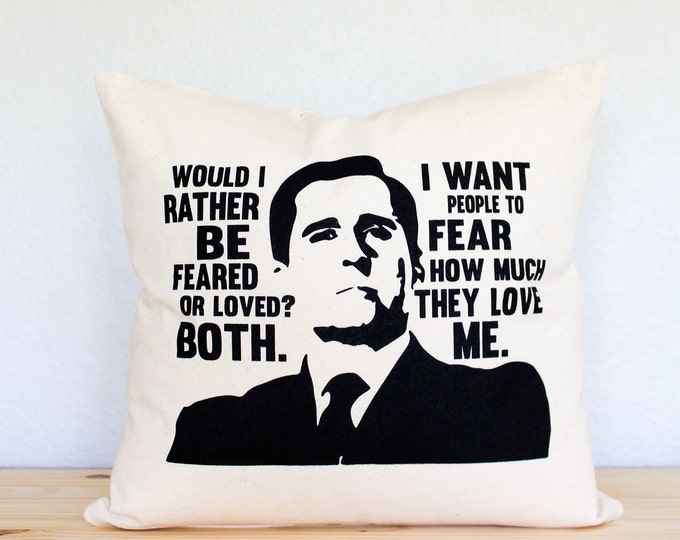 "The Office TV SHOW Michael Scott ""Feared or Loved"" Pillow - Home Decor, Gift for Him, Gift for Boss, Pillow Cover, College Student Gift"