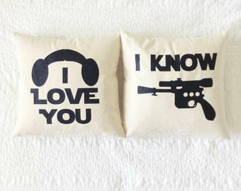 "Star Wars Pillow Set - ""I Love You and I Know"" Han Solo and Princess Leia Quote"