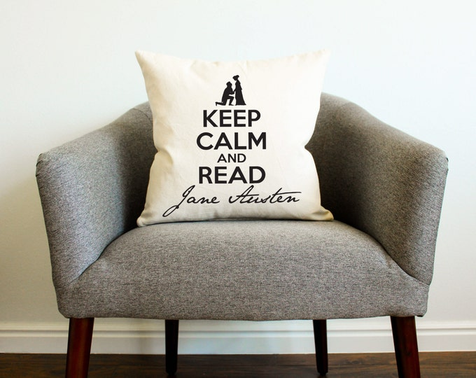 Keep Calm and Read Jane Austen Pillow - Gift for Her, Gift for Mom, Mothers Day Gift, Cushion, Home Decor, Throw Pillow