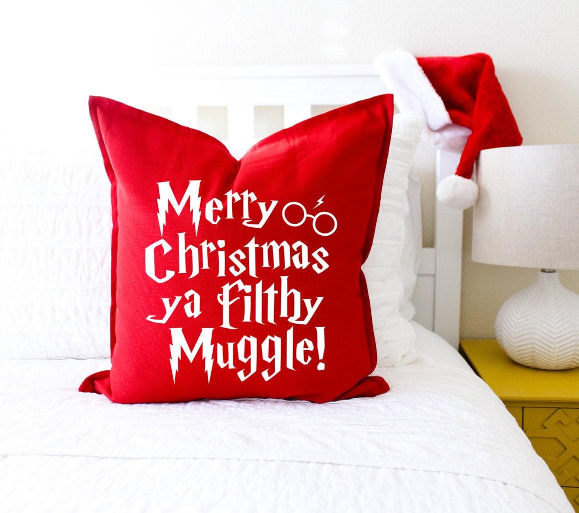 christmas decor merry christmas ya filthy muggle pillow cover christmas decor book lover gift christmas gift fandom
