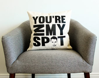 "The Big Bang Theory Sheldon Cooper ""You're In My Spot"" Pillow - TV Show, Gift for Him, Dad Gift, Pillow, Home Decor, Throw Pillow"
