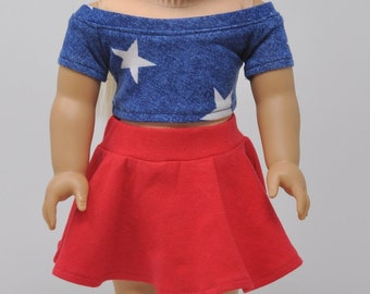 Blue and White Star Print Crop Top with Red Skater Skirt 18 Inch Doll Clothes