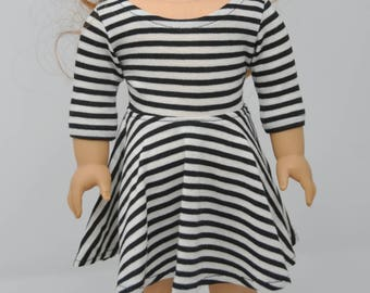 Black and Off-White Striped   3/4 Sleeve Skater Dress    18 inch Girl Doll Clothes