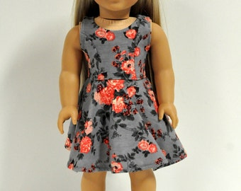 Floral 18 Inch Doll Dress - 18 Inch Doll Clothes - Gray Doll Dress - Sleeveless Doll Dress - 18 Inch Doll Clothing - 18 Inch Doll Dress