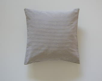 Ticking Striped 16x16 Pillow Cover Blue Stripes On Cream Background