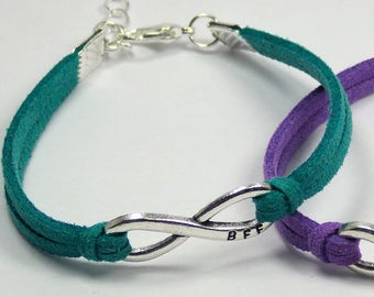 BFF Best Friend Forever Infinity Bracelet: 16+ colors available -- Adjustable Leather Suede Single Layer Bracelet
