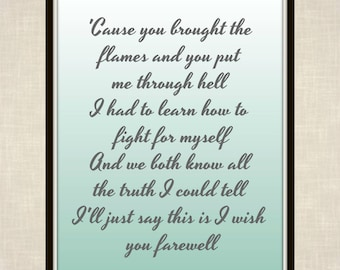 Kesha lyrics etsy cause you brought the flames and you put me through hell i had to learn how to fight for myself kesha lyrics print praying stopboris Choice Image