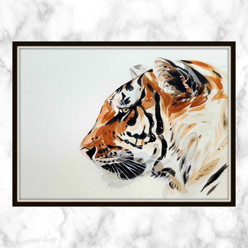 Tiger Printable - watercolor printable - Tiger - Orange Tiger - Orange  Tiger Printable - watercolor tiger printable - black stripes