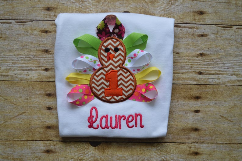 First Thanksgiving Personalized Girl Thanksgiving Birthday Outfits Ribbon Turkey Infant or Toddler