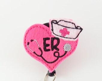 ER - Felt Badge Reel - Nurse Badge Holder - RN Badge Reel - Pediatric Badge Clip - Name ID Badge - Retractable Badge - Hospital Id Reel