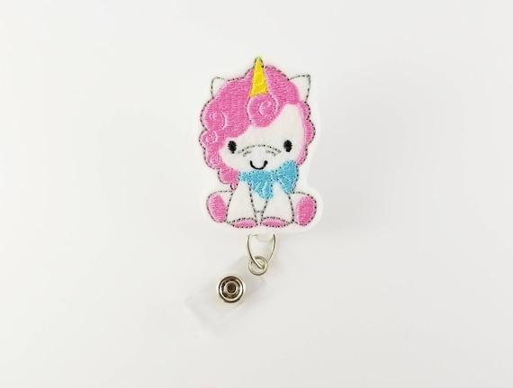 Baby Unicorn - Felt Badge Reel - Nurse Badge Holder - Retractable ID Badge  - RN Badge Reel - Teacher Badge Clip - Cute Badge Reels - Peds
