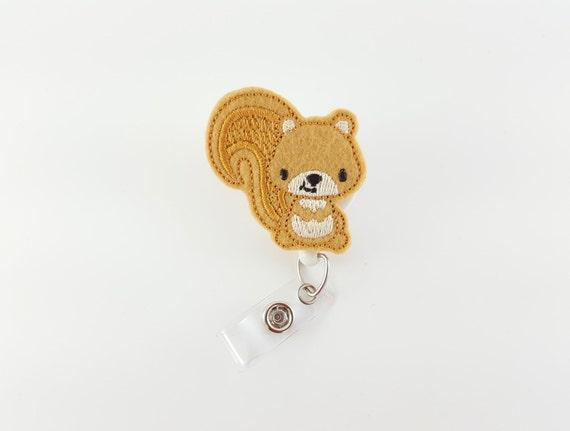 Écureuil - Badge feutre moulinet - porte-Badge d'infirmière - pédiatrie Badge Clip - rétractable ID Badge - Badge RN bobine - bobines de Badge mignon - Animal