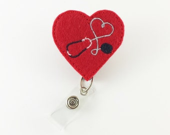 Stethoscope Heart - Felt Badge Reel - Retractable ID Badge - Nurse Badge Holder - Badge ID Reel - RN badge Reel - Badge Clip - Medical Badge