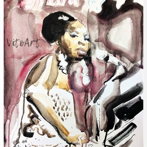 African American Art Print Woman Twists Locs Natural Hair Afrocentric Beauty Watercolor Portrait Wall Decor Limited Edition Print