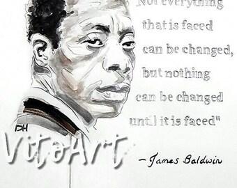 James Baldwin Art Print Writer Poet With Quote Watercolor Etsy