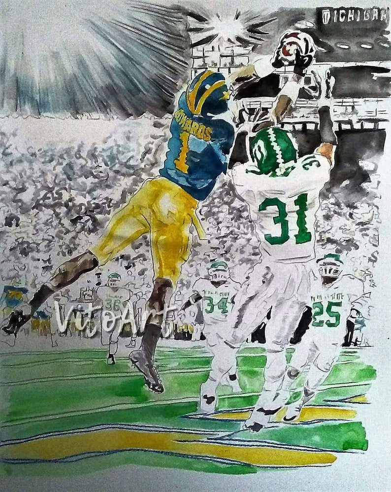 cheap for discount b7039 7f9ba Michigan Wolverines Braylon Edwards Art Print Michigan U of M Football  Sports Art Go Blue Limited Edition Poster Print