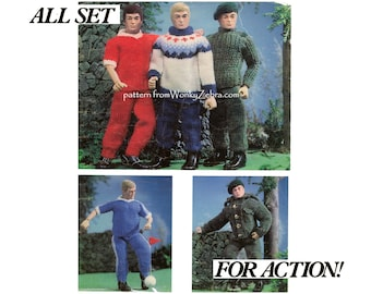 Action Man Doll Toy Clothes Vintage Knitting Pattern PDF T1037 from WonkyZebra