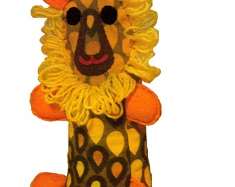 Vintage retro groovy toy lion SEWING Pattern PDF 574 from ToyPatternLand and WonkyZebra