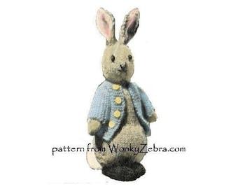 Vintage Rabbit Toy Knitting Pattern Bunny Peter Rabbit emailed PDF 735 from ToyPatternLand and WonkyZebra