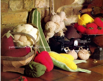Pattern for Knitted Vegetables from Vintage Magazine emailed PDF 538 from ToyPatternLand and WonkyZebra