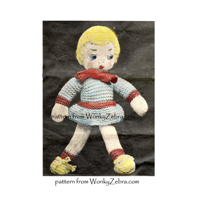 Vintage Knitted Katie Doll And Humpty Dumpty Knitting Pattern Etsy