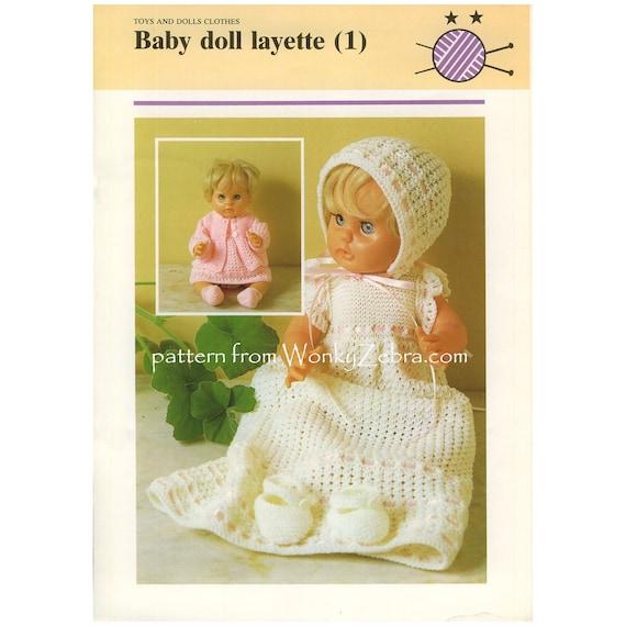Baby Babyausstattung Vintage Puppe reborn stricken Taufe Kleid | Etsy