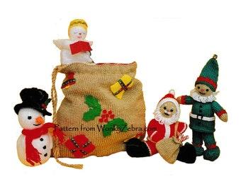 Vintage Christmas Toy Knitting Pattern Toy Sack Santa Elf Angel Snowman PDF T1055 from WonkyZebra