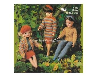 Teen doll Sindy dolls clothes knitting pattern 9 pieces Vintage Knit Pattern PDF 599 from WonkyZebra