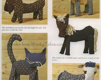Puppet Toys Sewing Pattern 246 Vintage PDF from ToyPatternLand and WonkyZebra