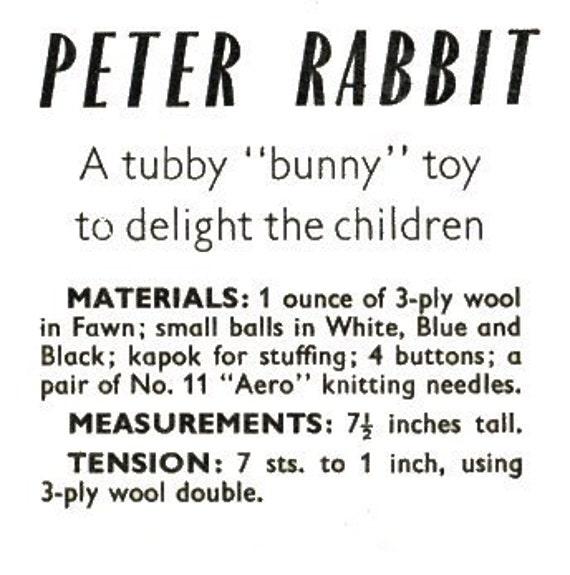 Juguete Vintage conejo tejer patrón conejito Peter Rabbit | Etsy