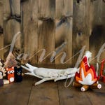 Newborn Baby Digital Backdrop - Photo Session - Moose Antler with Woodland Critter Stuffies - Camping Theme