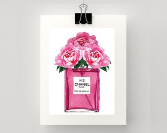 LARGE - Print of Chanel No 5 watercolour perfume with roses